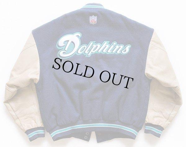 画像2: 90s カナダ製 NIKEナイキ NFL Dolphins刺繍 キルティングライナー 袖革スタジャン 紺×ベージュ M