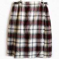 英国製 UNKNOWN オンブレチェック ウール キルトスカート 18