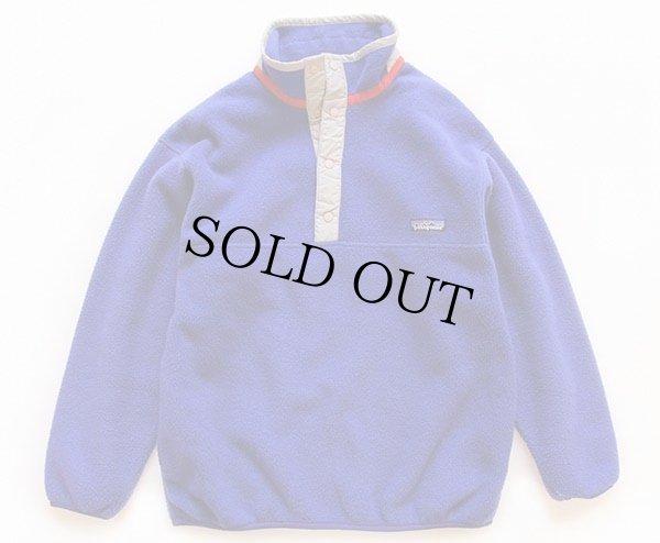 画像1: 00s patagoniaパタゴニア フリース スナップT 青紫 KIDS' L