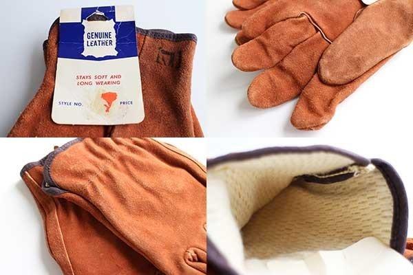 画像3: デッドストック★70s UNKNOWN サーマルライナー スエード レザーグローブ 赤茶 L★A 手袋