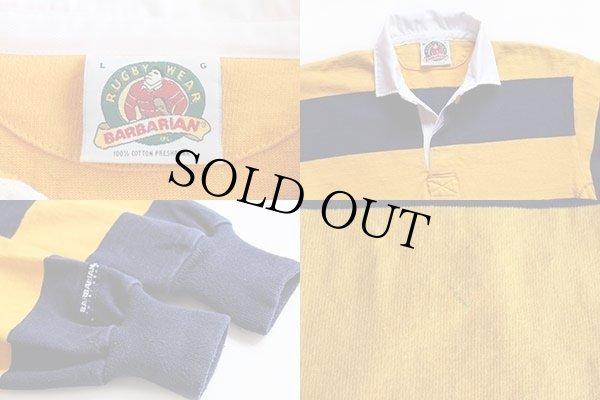 画像3: カナダ製 BARBARIANバーバリアン 太ボーダー コットン ラガーシャツ 黄色×紺 L