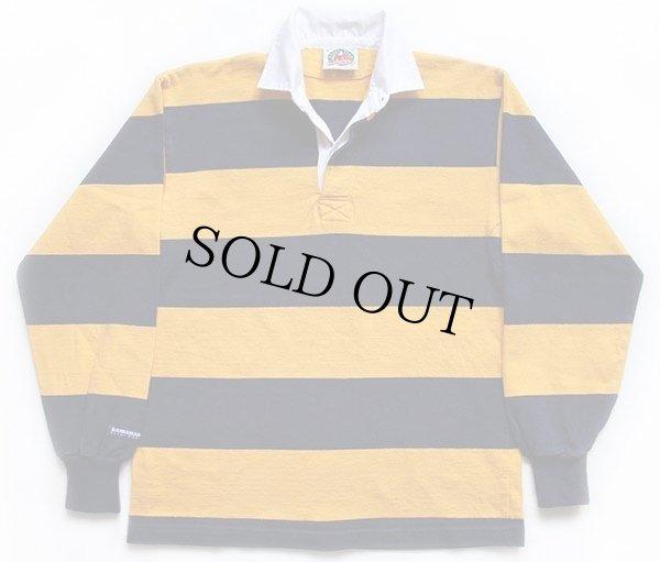 画像1: カナダ製 BARBARIANバーバリアン 太ボーダー コットン ラガーシャツ 黄色×紺 L
