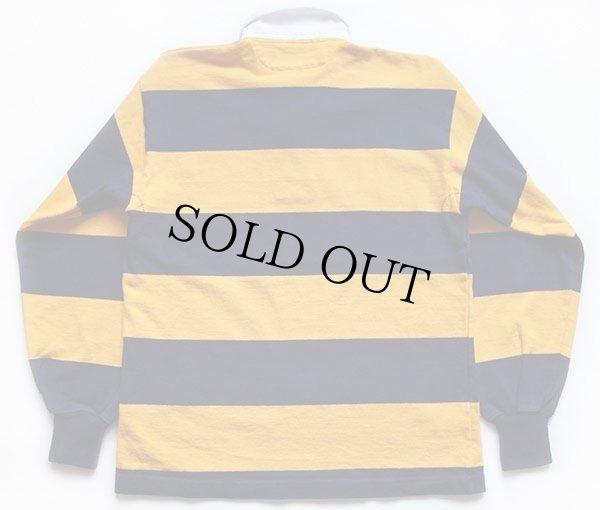 画像2: カナダ製 BARBARIANバーバリアン 太ボーダー コットン ラガーシャツ 黄色×紺 L