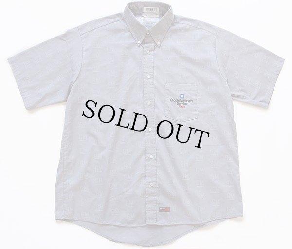 画像1: RED KAPレッドキャップ GM ロゴ 総柄 Goodwrench Service刺繍 ボタンダウン 半袖ワークシャツ グレー XL