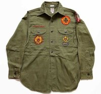 50s BSA ボーイスカウト パッチ&マチ付き コットンツイルシャツ オリーブ★122