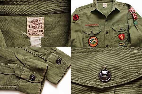 画像3: 60s BSA ボーイスカウト パッチ付き コットンツイルシャツ オリーブ 14.5★40