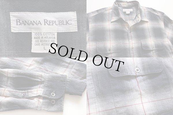 画像3: 90s BANANA REPUBLICバナナリパブリック オンブレチェック コットンシャツ L