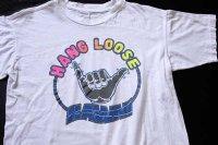 90s HANG LOOSE HAWAII 蛍光 染み込みプリント コットンTシャツ 白 M