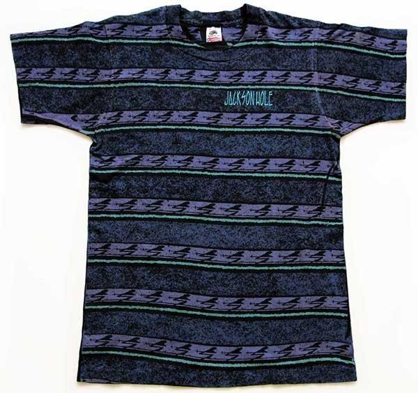 画像2: 90s USA製 JACKSON HOLE 発砲ロゴ スキー 総柄 手刷り オールオーバー コットンTシャツ M