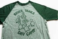 70s USA製 Velva Sheen RIVER TRAILS DAY CAMP 染み込みプリント ラグランTシャツ 杢グリーン×緑 M