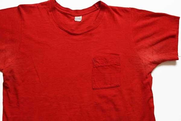 画像2: 70s USA製 UNIDOS EN LA LUCHA UNITED FARMWORKERS 染み込みプリント コットン ポケットTシャツ 赤 L