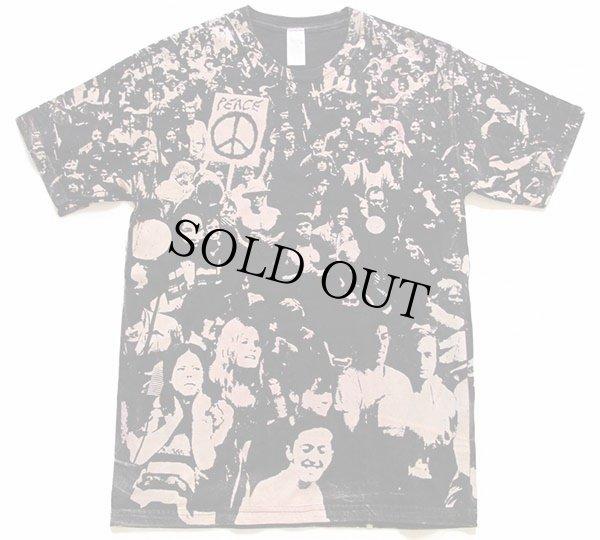画像2: WOODSTOCKウッドストック風 PEACE オールオーバープリント Tシャツ 黒 M