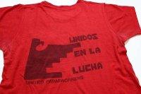 70s USA製 UNIDOS EN LA LUCHA UNITED FARMWORKERS 染み込みプリント コットン ポケットTシャツ 赤 L