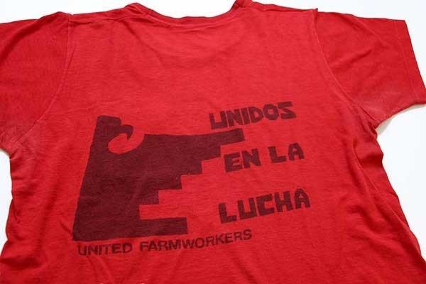 画像1: 70s USA製 UNIDOS EN LA LUCHA UNITED FARMWORKERS 染み込みプリント コットン ポケットTシャツ 赤 L