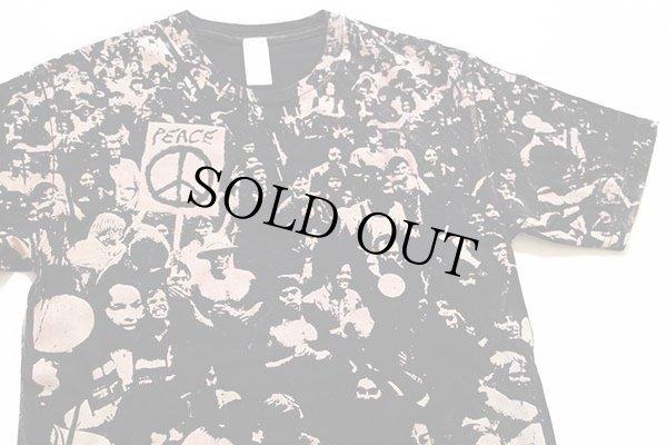 画像1: WOODSTOCKウッドストック風 PEACE オールオーバープリント Tシャツ 黒 M