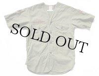 50s BSA ボーイスカウト パッチ&マチ付き ノーカラー 半袖 コットンポプリンシャツ オリーブ キッズ