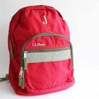 L.L.Bean J刺繍 ブック パック ナイロン デイパック 赤 キッズ