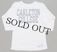 80s USA製 Championチャンピオン CARLETON COLLEGE コットン フットボールTシャツ 生成り M