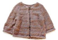 60s ノーカラー 編み柄 モヘア ハンドニット カーディガン グレーブラウン