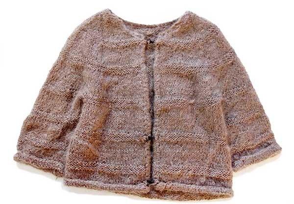 画像1: 60s ノーカラー 編み柄 モヘア ハンドニット カーディガン グレーブラウン