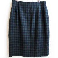 90s USA製 JONES NEW YORK ブロックチェック ウールスカート 緑×紺 10