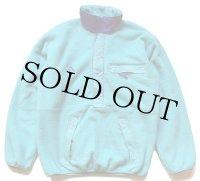 80s カナダ製 patagoniaパタゴニア 刺繍入り ハーフジップ プルオーバー フリースジャケット 水色 M
