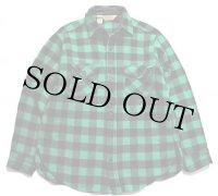 80s USA製 L.L.Bean バッファローチェック ウールシャツ 緑×黒 L