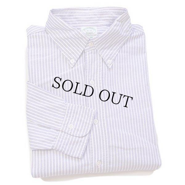 画像1: USA製 Brooks Brothersブルックスブラザーズ MILANO ストライプ ボタンダウン オックスフォード コットンシャツ 薄紫×白 16
