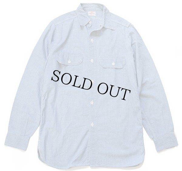 画像1: 50s King Kole マチ付き コットン シャンブレーシャツ
