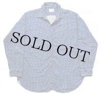 60s SEARS PILGRIMピルグリム マチ付き 千鳥格子 コットン プリントネルシャツ 青×紺 XL