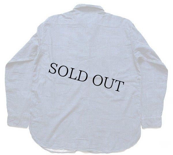 画像2: 60s SEARS PILGRIMピルグリム マチ付き 千鳥格子 コットン プリントネルシャツ 青×紺 XL