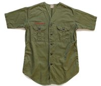 60s BSA ボーイスカウト ノーカラー 半袖 コットンポプリンシャツ オリーブ