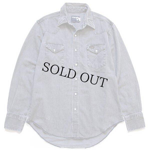 画像1: 80s USA製 Wranglerラングラー ブラックデニム ウエスタンシャツ