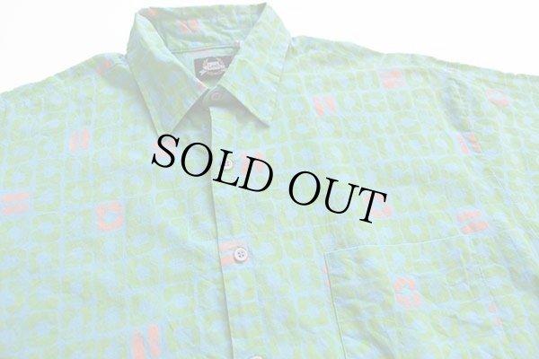 画像3: 80s USA製 Leeリー 総柄 半袖 コットンシャツ 水色×黄緑×蛍光 L