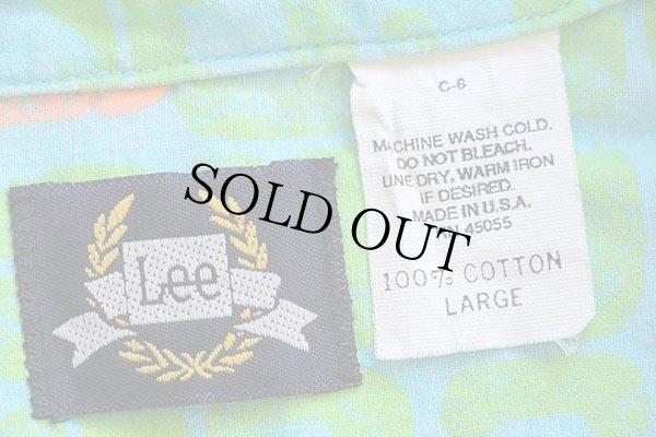 画像4: 80s USA製 Leeリー 総柄 半袖 コットンシャツ 水色×黄緑×蛍光 L