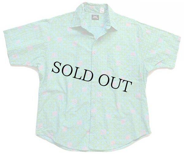 画像1: 80s USA製 Leeリー 総柄 半袖 コットンシャツ 水色×黄緑×蛍光 L