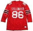 画像1: 80s USA製 Championチャンピオン STILLWATER 86 ナンバリング ナイロン メッシュTシャツ 赤 XL (1)