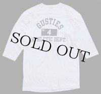 70s USA製 Championチャンピオン GUSTIES 三段中抜き 染み込みプリント フットボールTシャツ 生成り L