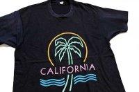 80s USA製 CALIFORNIA ヤシの木 ネオンカラー アート コットンTシャツ 黒 XL