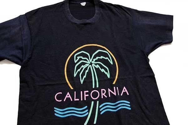 画像1: 80s USA製 CALIFORNIA ヤシの木 ネオンカラー アート コットンTシャツ 黒 XL
