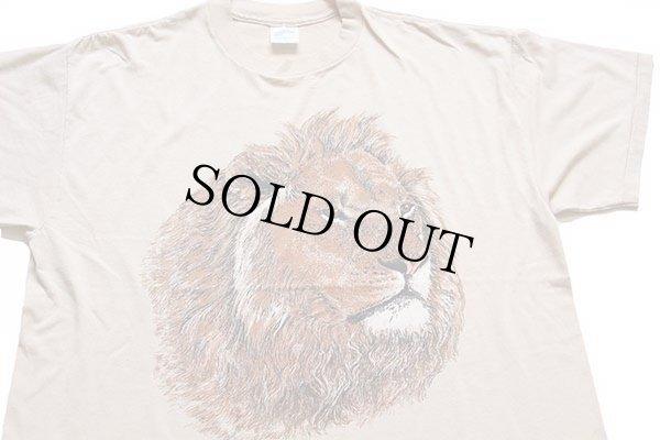 画像1: 80s USA製 ライオン アート Tシャツ ベージュ XL