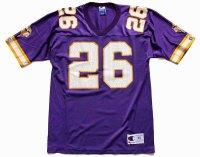 90s メキシコ製 Championチャンピオン NFL MINNESOTA VIKINGS SMITH 26 ナンバリング ナイロン メッシュ フットボール ゲームシャツ M