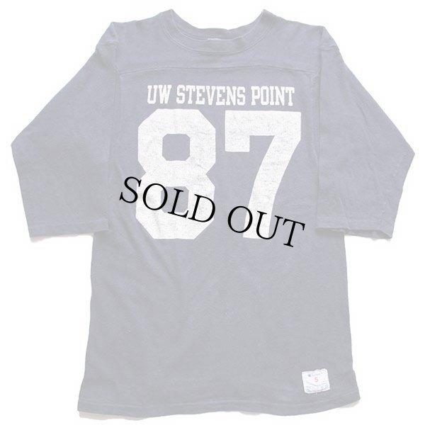 画像1: 80s USA製 Championチャンピオン UW STEVENS POINT 87 ナンバリング コットン フットボールTシャツ 紺 S