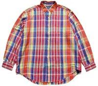 90s ポロ ラルフローレン マドラスチェック ボタンダウン コットンシャツ XL★インド綿