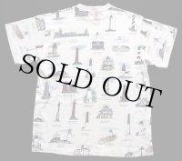 90s USA製 ART UNLIMITED SPORTSWEAR 灯台柄 総柄 アート コットンTシャツ アイボリー XL