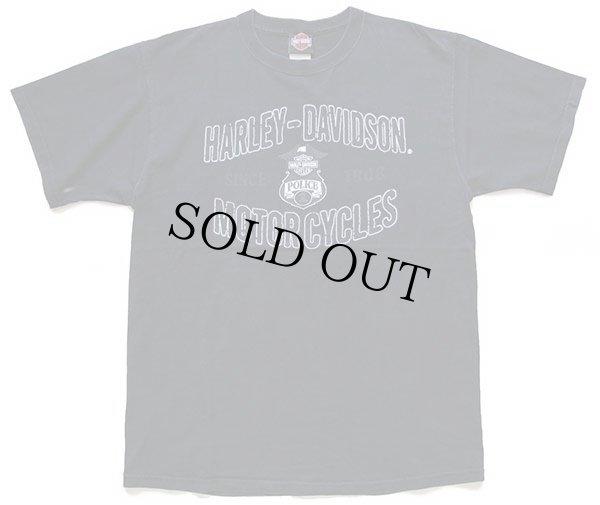 画像2: 00s USA製 HARLEY-DAVIDSON ハーレー ダビッドソン POLICE 1 両面プリント コットンTシャツ 黒 L