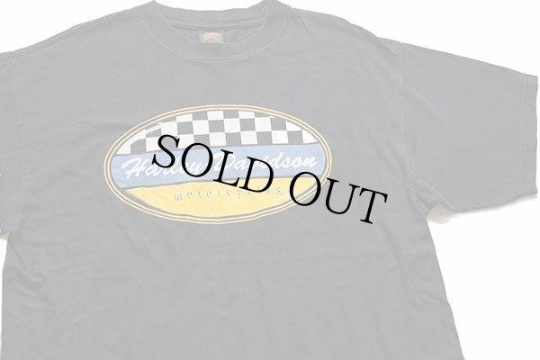 画像1: 00s USA製 HARLEY-DAVIDSON ハーレー ダビッドソン チェッカーフラッグ コットンTシャツ 黒 L