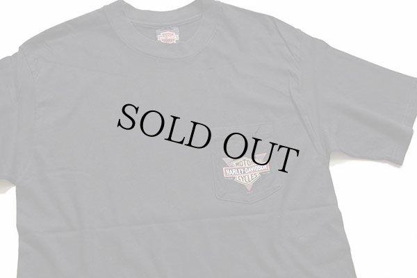 画像1: 90s USA製 Hanes HARLEY-DAVIDSON ハーレー ダビッドソン LASVEGAS 両面プリント コットン ポケットTシャツ 黒 L