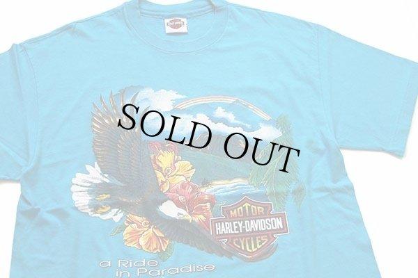 画像1: 90s Hanes HARLEY-DAVIDSON ハーレー ダビッドソン HAWAIIハワイ 両面プリント コットンTシャツ 青