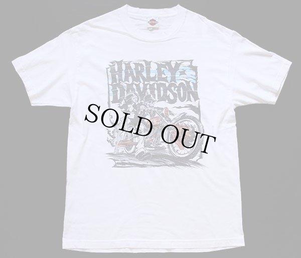 画像2: USA製 HARLEY-DAVIDSON ハーレー ダビッドソン BAKERSFIELD スカル 両面プリント コットンTシャツ 白 L